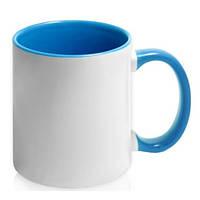 Чашка керамическая евроцилиндр цветная внутри, 310 мл, синяя, от 10 шт