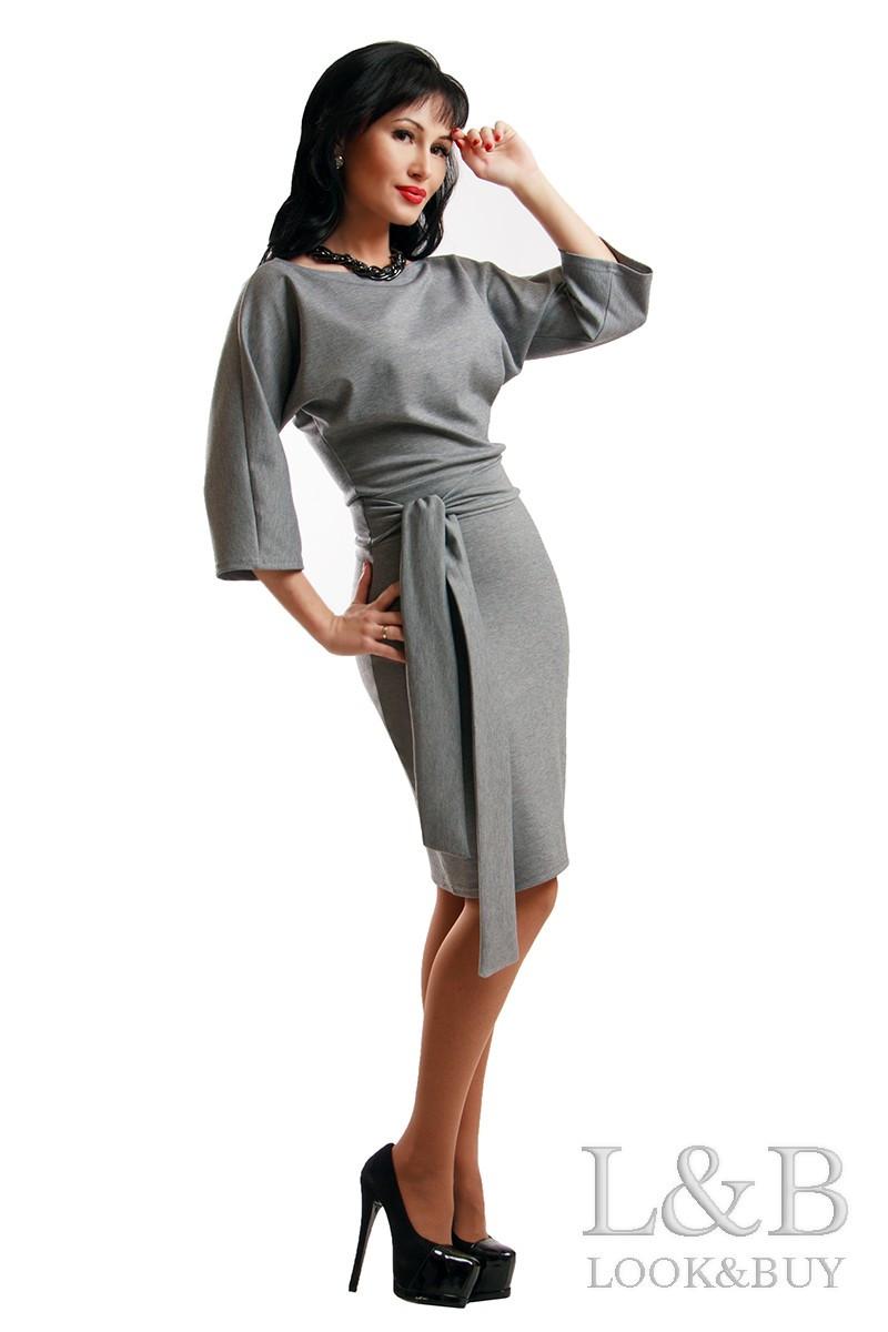 Серое платье DOLCE батальные размеры