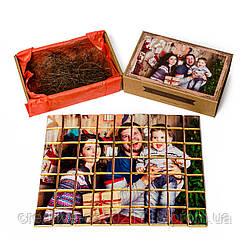"""Шоколадный набор с фото """"Пазл"""" крафт (63 плиточки в наборе) 315 г."""