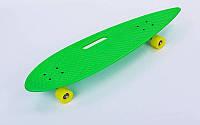Лонгборд круизер пластиковый Penny 36in дека с отверстием (PU, р-р 93x23см, салат-желтый)