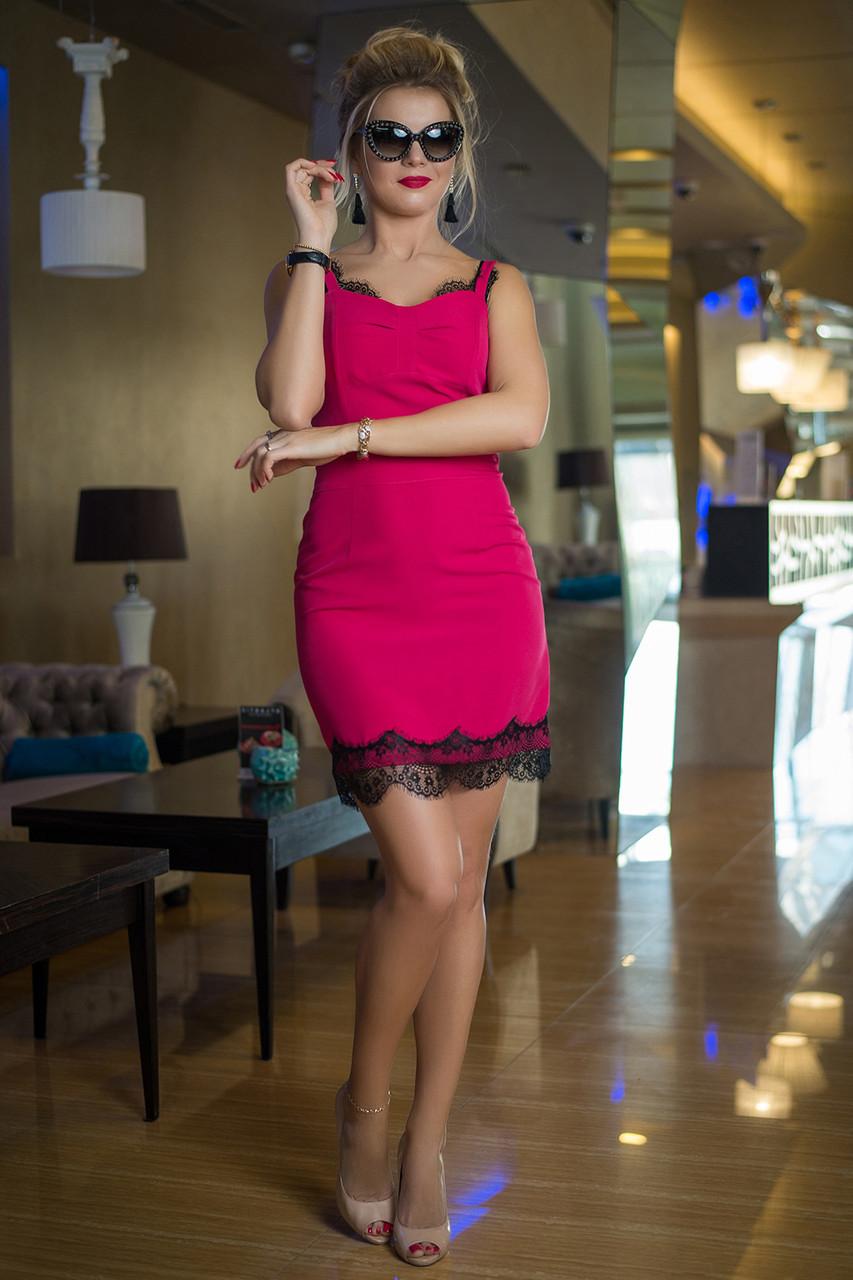 Коктейльное Платье Лакрес малиновое