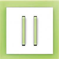 Выключатель двухклавишный проходной + рамка. Белый/Зелёный лёд. ABB Neo