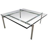 Стол журнальный Эвора, стеклянный журнальный стол, копия стола PK61 от дизайнера Poul Kjaerholm