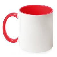 Чашка керамическая евроцилиндр цветная внутри, 310 мл, красная, от 10 шт