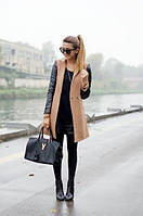 Пальто кашемировое женское № 6 Ян рукава кожа  $