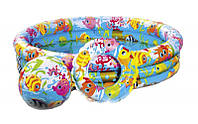 Детский надувной бассейн Intex 59469 с надувным кругом и мячом 132*28см,