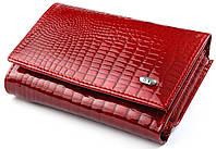 Женский кожаный кошелек ST складной лаковый, фото 1