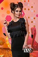 Женское платье в пол без рукавов с рюшами черное  2- 730 АМ