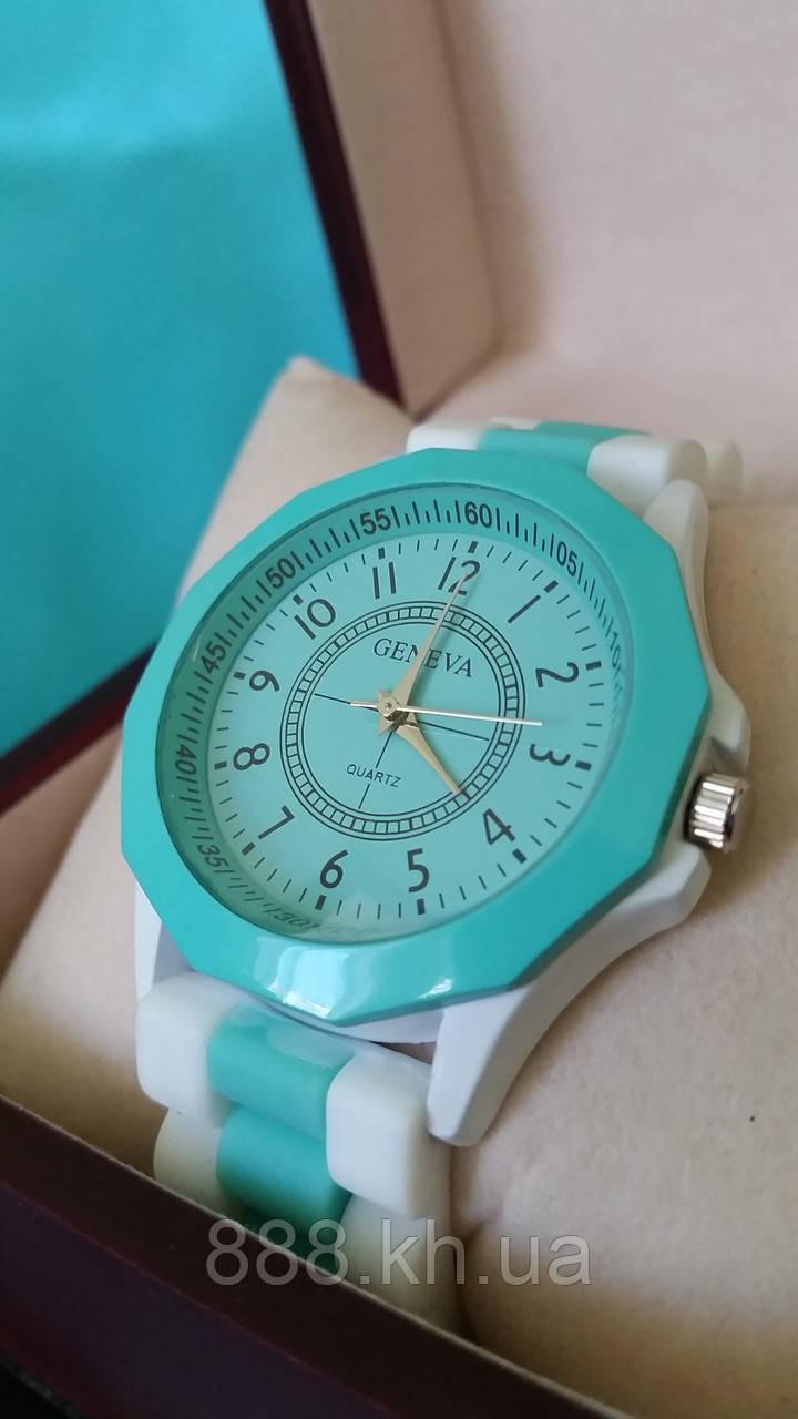 Часы женские GENEVA бирюза/белый реплика