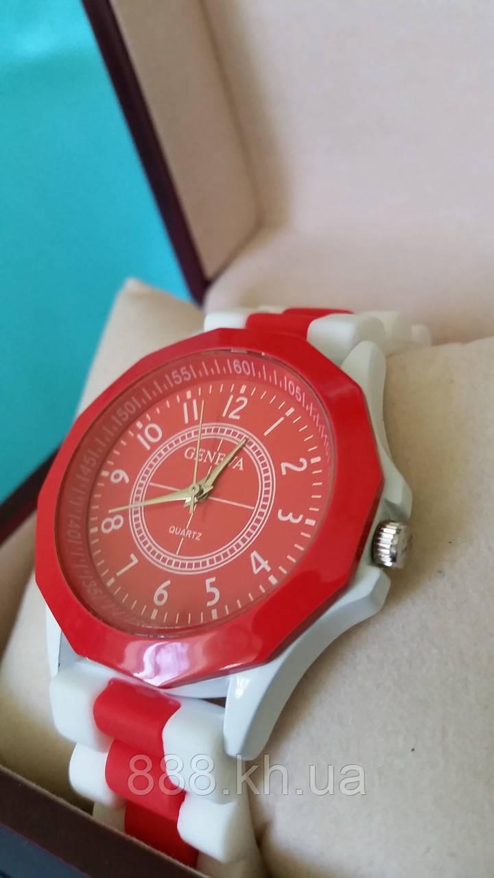 Часы женские GENEVA красный/белый реплика