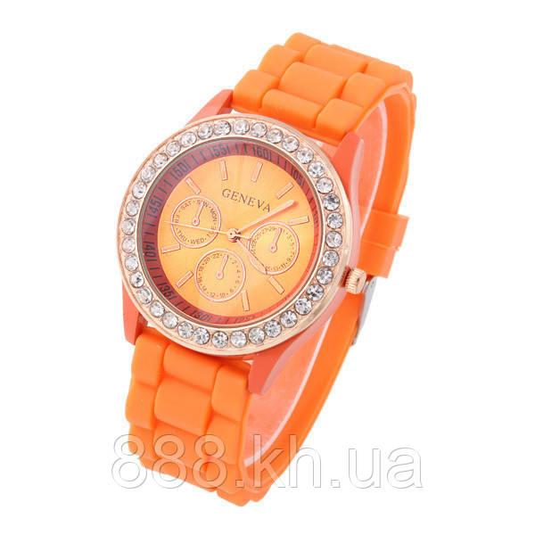 Часы женские Geneva Crystal оранжевый реплика