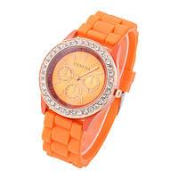 Часы женские Geneva Crystal оранжевый реплика, фото 1