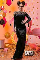 Женское платье в пол сдлинным рукавом с гипюровыми вставками черное бархат 2- 718 АМ