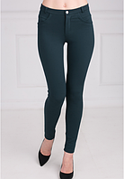 Зелёные стрейчевые брюки