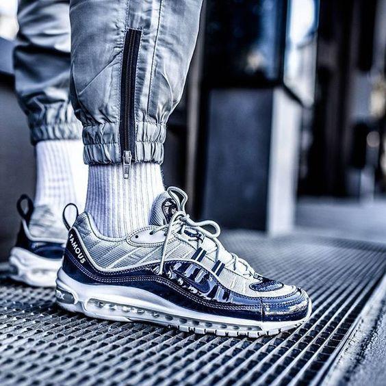 Женские кроссовки Supreme x Nike Air Max 98 blue  купить в ... e45676d871e