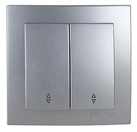 NILSON TOURAN Металлик Выключатель двухклавишный проходной серебро