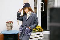 Детское серое  кашемировое пальто с искусственным мехом на карманах. Арт-2048/22