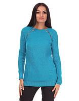 Женский вязаный свитер, волна