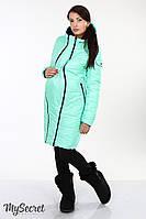 """Зимнее двухсторонне пальто """"Kristin"""" для беременных и кормящих мам (черный+мята)"""