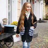 Детское черное  кашемировое пальто с искусственным мехом на карманах. Арт-2048/22