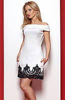Женское платье-трапеция молочного цвета со спущенным плечом. Модель 976 SL.
