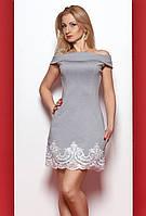 Женское платье светло-серого цвета со спущенными плечами. Модель 976 SL.
