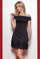 Женское платье черного цвета со спущенными плечами. Модель 976 SL.