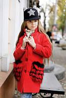 Детское красное  кашемировое пальто с искусственным мехом на карманах. Арт-2048/22