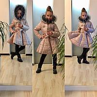 Красивая бежевая курточка на девочку с поясом, искусственный мех под чернобурку. Арт-2049/22