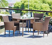 Садовый мебели садовой из искусственного ротанга коричневые (4 кресла и столик квадратный)