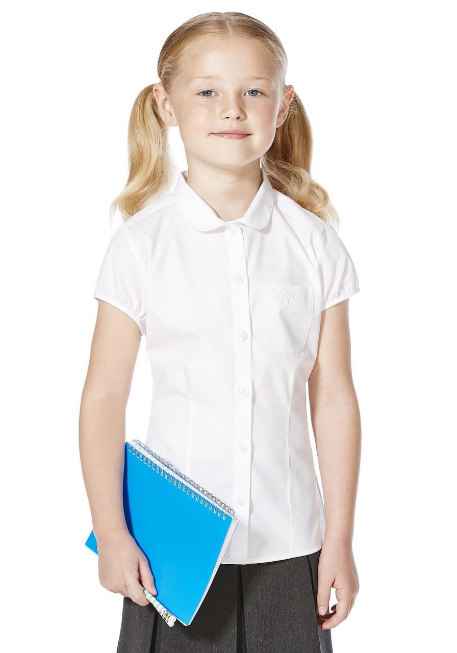 Школьная блузка белая с коротким рукавом для девочек 5-6-7-8-9-10-11 лет F&F (Англия)