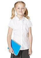 Школьная блузка белая с коротким рукавом для девочек 5-6-7-8-9-10-11 лет F&F (Англия), фото 1