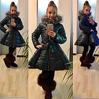 Красивая  детская  курточка на девочку с поясом, искусственный мех под чернобурку, цвет бутылка. Арт-2049/22
