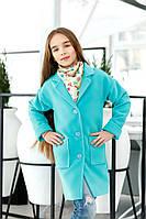 Мятное детское кашемировое пальто с карманами. Арт-2050/22
