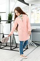 Розовое  детское кашемировое пальто с карманами. Арт-2050/22