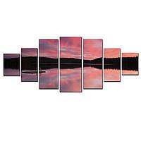 Модульные Светящиеся картины Startonight Багровый Закат над Озером, 7 частей