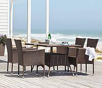 Комплект мебели садовой из искусственного ротанга коричневые (4 кресла и столик 150 см)