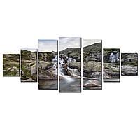 Модульные Светящиеся картины Startonight Скалистый Водопад, 7 частей