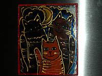 """Магніт на склі """"Три кота"""""""
