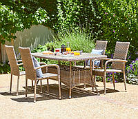 Большой комплект садовой мебели из искусственного  ротанга (4 кресла и большой  стол 2 метра)