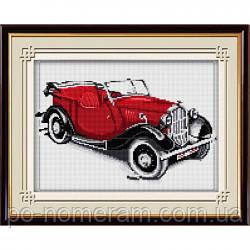 Вышивание камнями Dream Art Ретро автомобиль(красный) (полная зашивка, квадратные камни) (DA-30026) 25 х 40 см