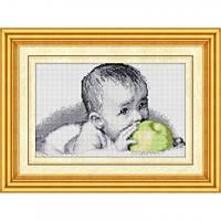 Алмазная вышивка Dream Art Вкуснятина(малыш с яблоком) (полная зашивка, квадратные камни) (DA-30077) 25 х 40,5