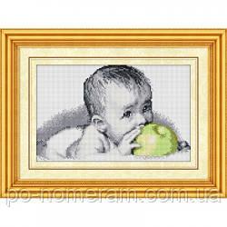 Алмазная техника Dream Art Вкуснятина(малыш с яблоком) (полная зашивка, квадратные камни) (DA-30077) 25 х 40,5 см (Без подрамника)