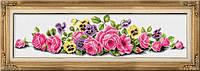 Рисование камнями на холсте Dream Art Неаполитанский букет (полная зашивка, квадратные камни) (DA-30083) 84,5 х 21,5 см