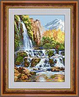Вышивание камнями Dream Art Пейзаж с водопадом (полная зашивка, квадратные камни) (DA-30115) 44 х 61,5 см