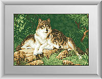 Рисование камнями на холсте Dream Art Лесные хищники (полная зашивка, квадратные камни) (DA-30181) 39 х 57 см