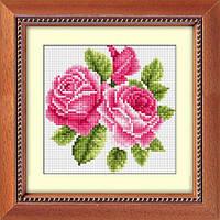 Рисование камнями на холсте Dream Art Букетик с розами (полная зашивка, квадратные камни) (DA-30182) 15 х 15 см