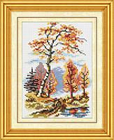 Рисование камнями на холсте Dream Art Осенний пейзаж (полная зашивка, квадратные камни) (DA-30186) 17 х 26 см