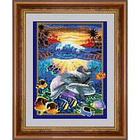 Рисование камнями на холсте Dream Art Подводный мир (полная зашивка, квадратные камни) (DA-30205) 40 х 52 см