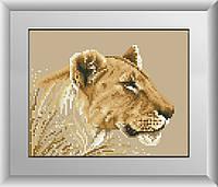 Вышивание камнями Dream Art Тигрица (полная зашивка, квадратные камни) (DA-30232) 20 х 25 см